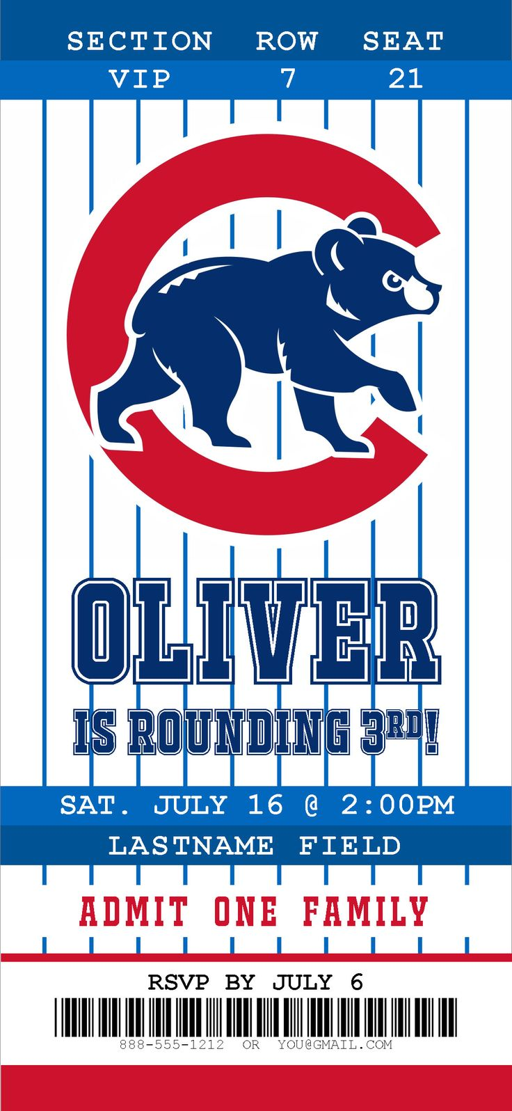 A personal favorite from my Etsy shop https://www.etsy.com/listing/547252645/chicago-cubs-ticket-birthday-invitation