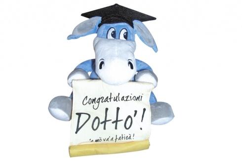 CIUCHINO PELUCHE LAUREATO. Peluche asinello Forza Napoli e cappello da laureato con scritta Congratulazioni Dottvɬ=