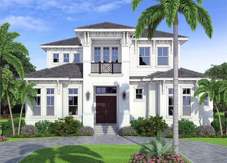 Coastal Contemporary Florida Mediterranean House Plan 52942