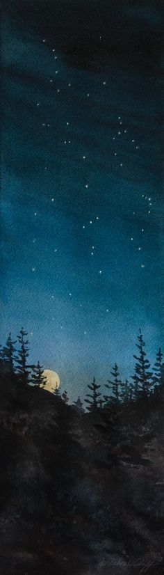 Constellations, Watercolor Print, Night Sky, Baby Nursery, Orion, Moon Rising, Stars, Deep Blue, Moon, Trees, Silhouette