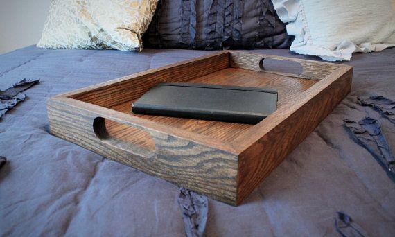Oak Ottoman Tray  Dark Walnut  Coffee Table by FickleAndFellow