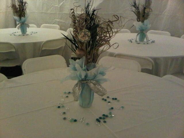Inexpensive yet elegant centerpieces i did for a th