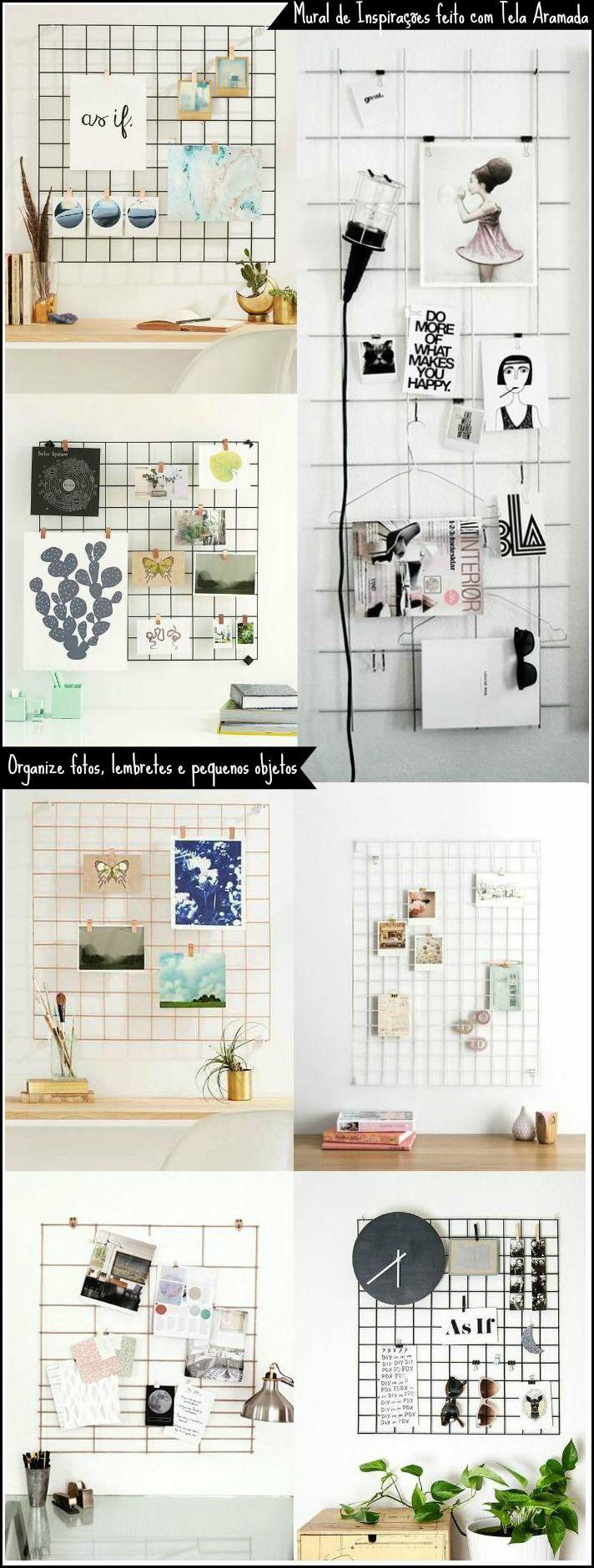 Tela Aramada: 29 inspirações para o seu mural de inspirações. Wire grid wall |Mood board