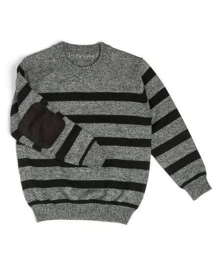 27502ff68202 Littlest Prince Couture Gray   Black Stripe Elbow-Patch Sweater ...