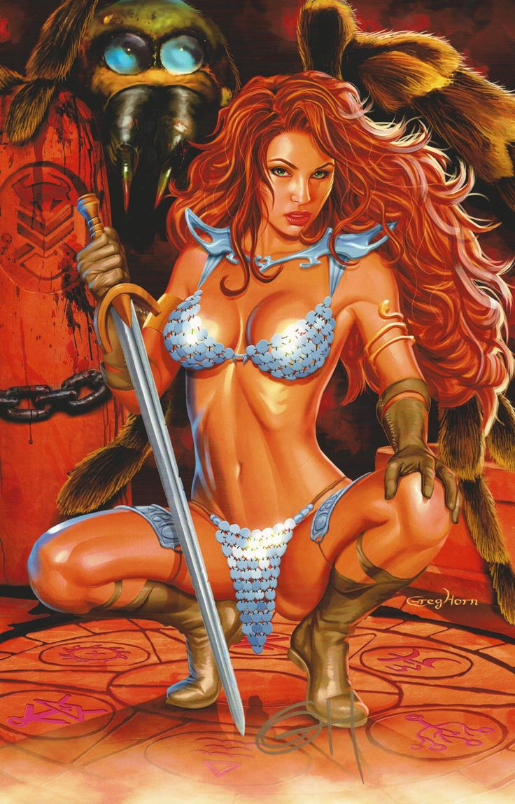 Pin Up Girl Wallpaper Black And White Greg Horn Signed Conan Comic Art Print Red Sonja Sword