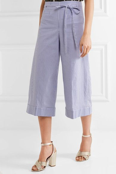 J.Crew - Banada Striped Stretch-cotton Wide-leg Pants - Blue - US4