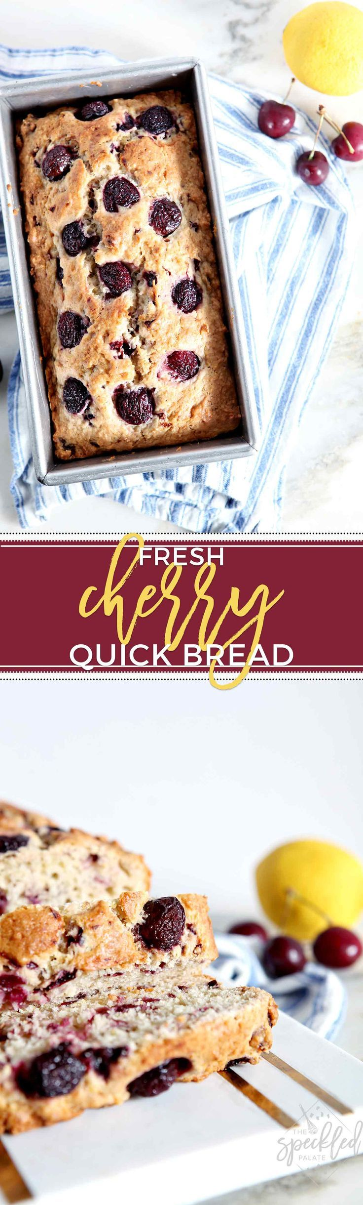Fresh Cherry Quick Bread makes the PERFECT breakfast or sweet treat! This quick bread is destined to become a classic summertime recipe. #recipe #breakfast