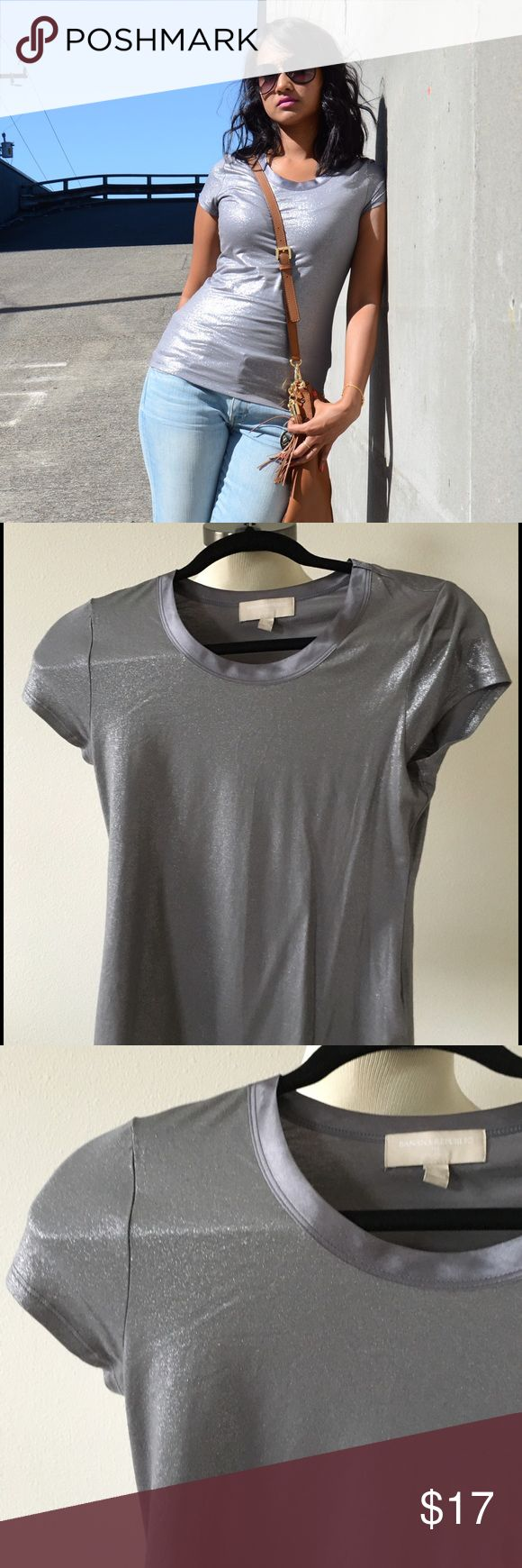Metallic tee Simple and chic t shirt . Its round neck and very soft Banana Republic Tops Tees - Short Sleeve