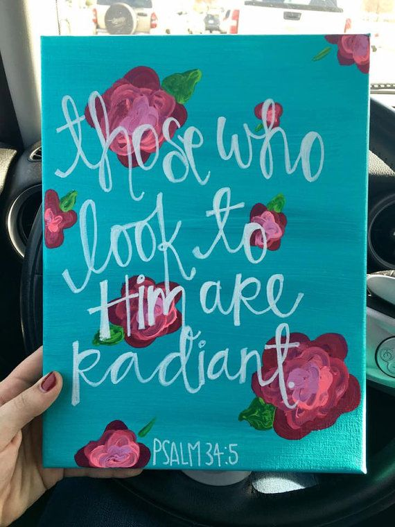 Stretch canvas Psalm 34:5 by WordsForYourWalls on Etsy