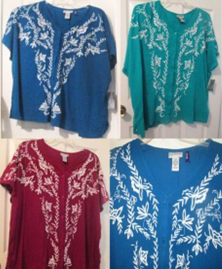 Blue Green or Maroon Floral Button Blouse 2X 3X 4X or 5X Regular or Petite Shirt #Catherines #ButtonDownShirt #CasualorAnytime