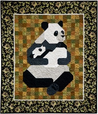 """Panda Patchwork Quilt Pattern: """"Mah and Jong"""" are an endearing mother panda and her cub."""