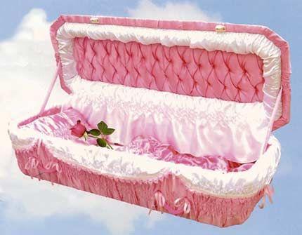 Soft Pink Pet Casket.  .well I guess..different..