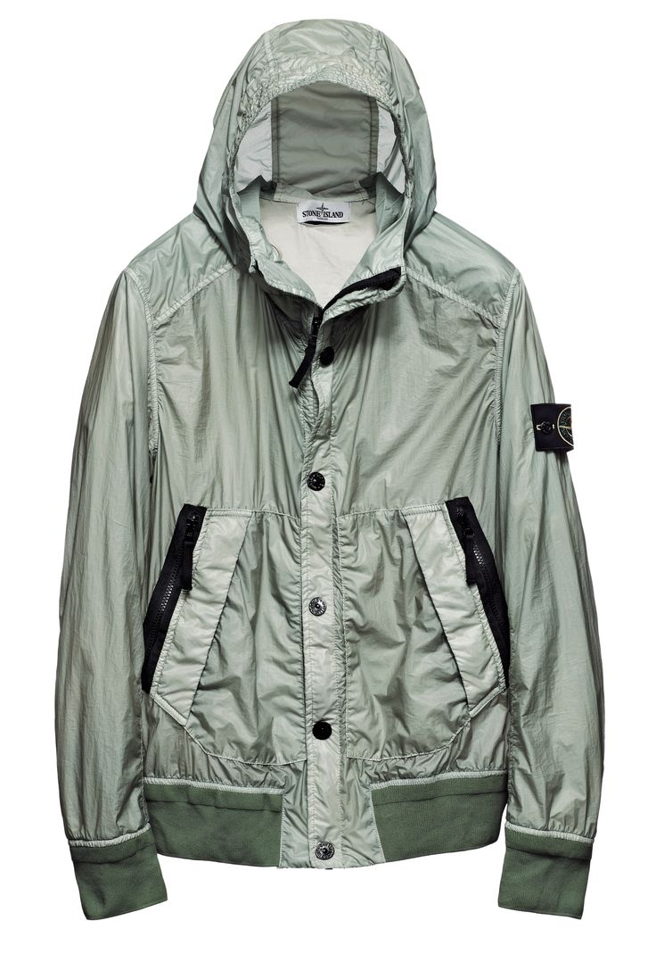 44B34 GLASS Hooded bomber jacket in Glass, ultra light nylon micro rip stop twill canvas with an opalescent appearance achieved through the lamination of an opaque polyurethane film to its outer face and to the specific dye formulas used for the garment dyeing treatment. The polyurethane film makes the piece wind and water resistant. Two diagonal pockets with windproof flap and snap fastening, with two zip-fastening pockets edged with cotton tape on the top.