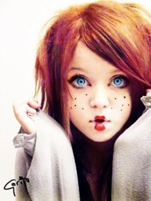 Doll Face Makeup - Sweet Doll - Red hair - Redhead - Halloween by dixie