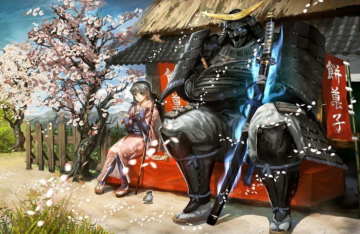Arte_ menina, guerreiro samurai,espada Katana, sakura.