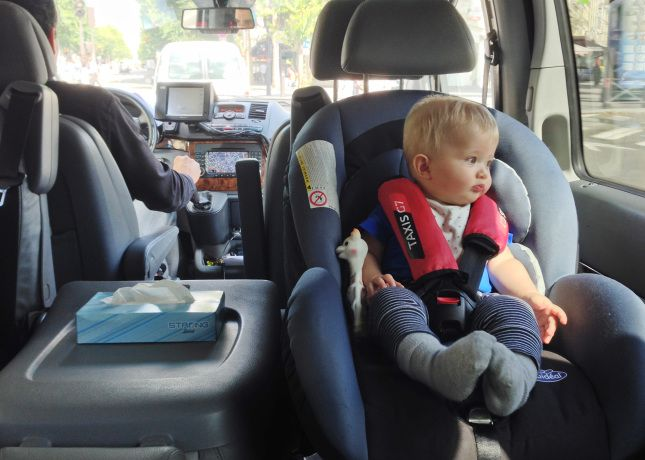 Inside one of Taxi G7's Family Cabs, a convenient and safe choice with a baby // FoodNouveau.com