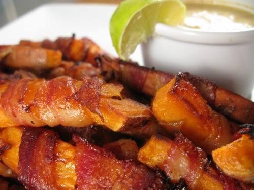 BACON WRAPPED SWEET POTATO FRIES | Appetizers & Snacks | Pinterest