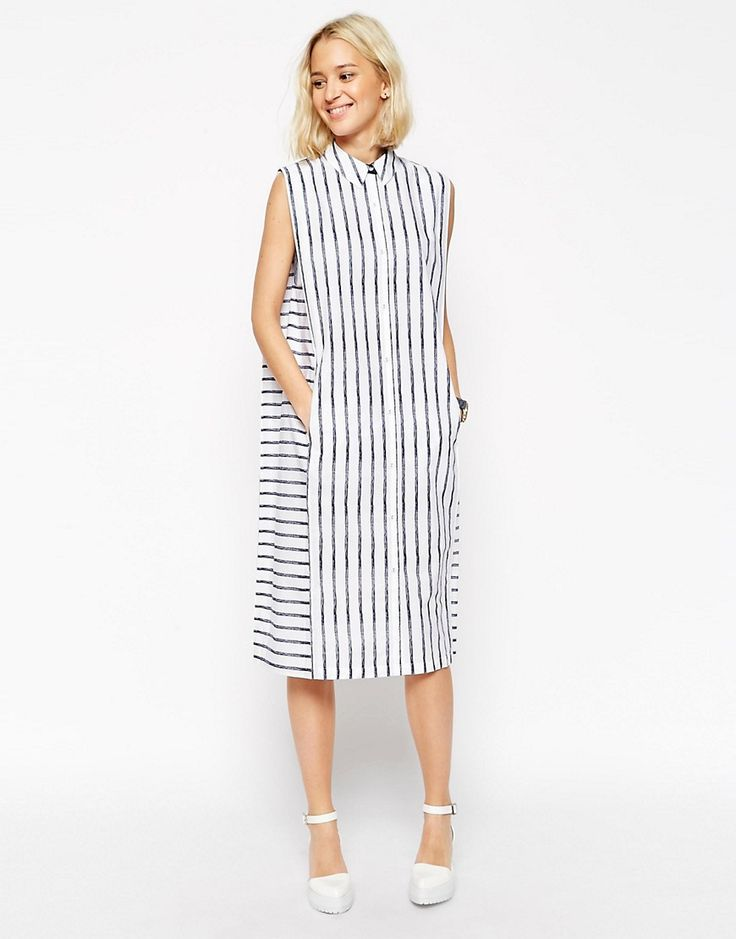 Изображение 1 из Платье-рубашка без рукавов в полоску ASOS WHITE Crayon