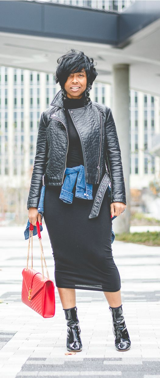 Black Moto Jacket, All black outfit, Short hair cut, ALL BLACK, BLACK SKIRT, YSL RED BAG, INDY FASHION BLOG, SWEENEE STYLE