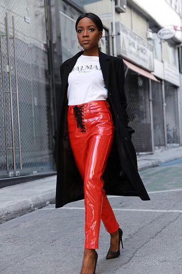 Get this look: http://lb.nu/look/8953426  More looks by Rachel O.: http://lb.nu/chicglamstyle  Items in this look:  H&M Logo Tee, Pretty Little Thing Vinyl, Cos Coat, Zara Hoop Earrings, Migato Snakeskin   #chic #edgy #minimal #vinyl #red #streetstyle