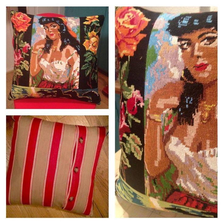 """Rosita"" Vintage needlepoint & old ticking. 50x50 cm"