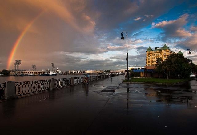 #rusia #viajes #travels  Otro arcoiris sobre el rio Neva en San Petersburgo