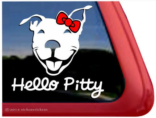 """Hello Pitty - DC281SP1 - Smiling Pit Bull Terrier Window Tablet Decal Sticker - 5"""" tall x 5"""" wide"""