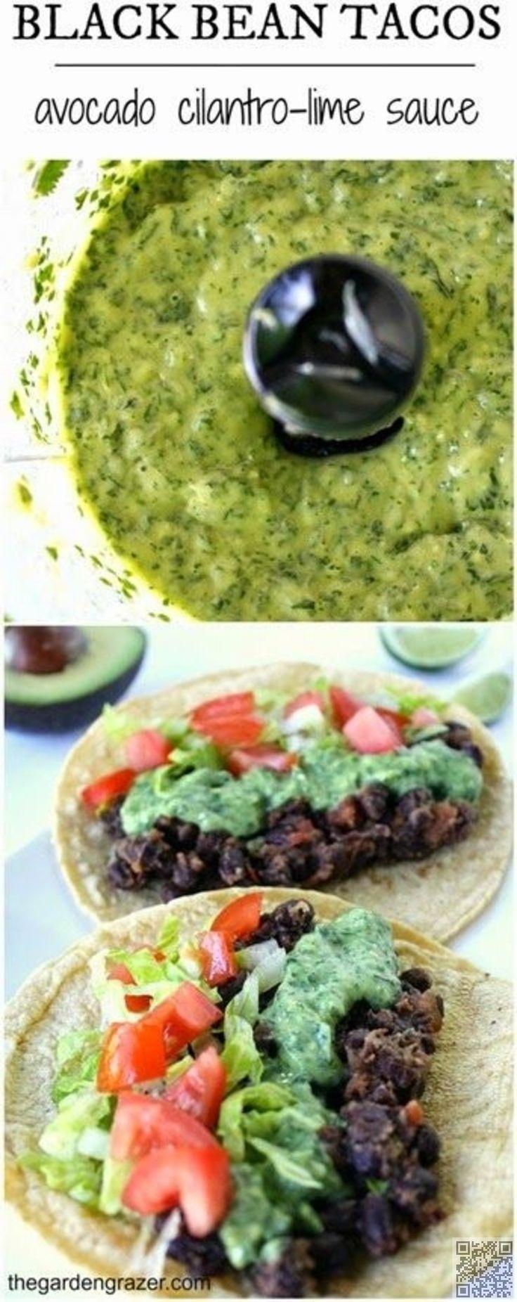 Black Bean Tacos with Avocado Cilantro Lime Sauce