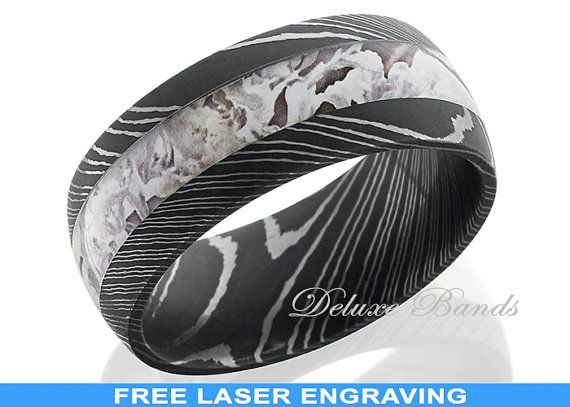 take your wedding ring to a whole new level of uniqueness with this damascus steel 9 mm domed band with 4 mm of kings camo this ones shown in kings snow - Damascus Wedding Ring