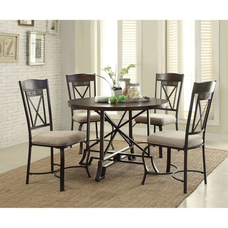 acme furniture hyatt 5 piece round dining table set acm1007