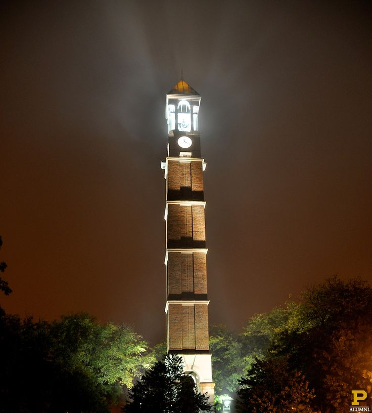 The beautiful and iconic Purdue Bell Tower at night.