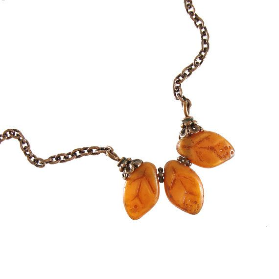 Rust Orange Leaf Necklace Burnt Orange Antiqued Genuine