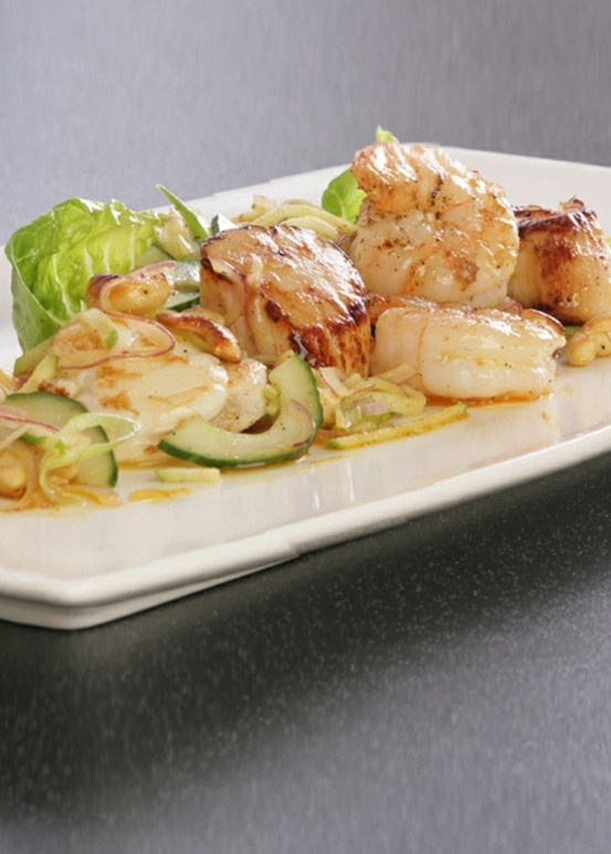 Monkfish, Prawns and Scallop Salad with a Curry Dressing - Try this seafood combo of scallops, prawns and monkfish to truly wow your friends! - www.fishisthedish...