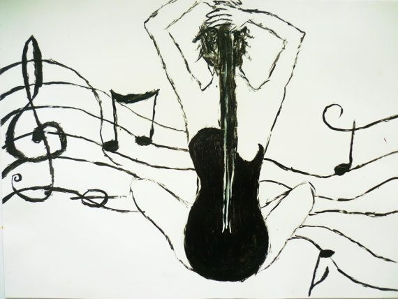 Original Abstract Guitar Painting - Woman Black and White ...