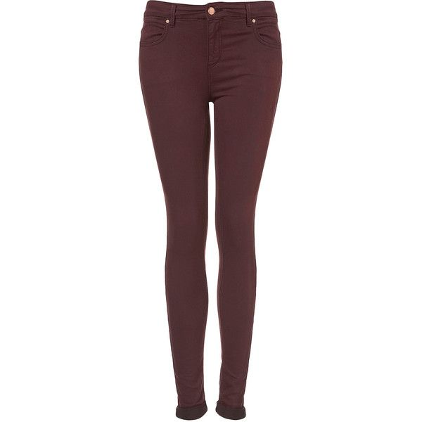 TOPSHOP Tall MOTO Wine Leigh Jeans ($60) ❤ liked on Polyvore