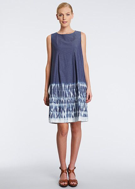 Italian Dobby Stretch Denim Trapeze Dress Lafayette 148