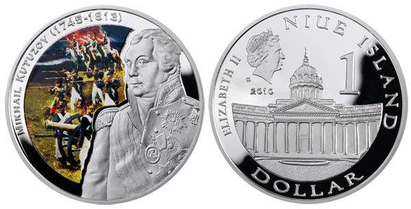 Монета. Ниуэ 1 доллар, 2010 год. Великие полководцы. Михаил Кутузов Сер925