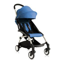 Babyzen - YOYO  Stroller Frame and Seat Pad. White frame with blue seat pad.