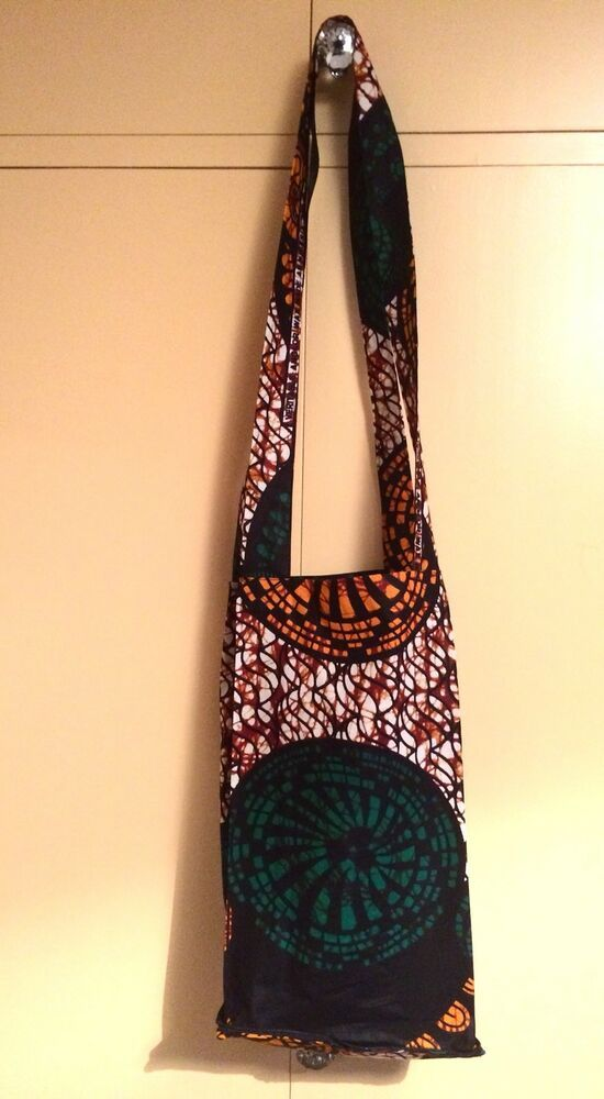 Foldable African Batik Wax Printed Tote Shoulder Shopper Book Bag.   Unbranded 4823357b8b6