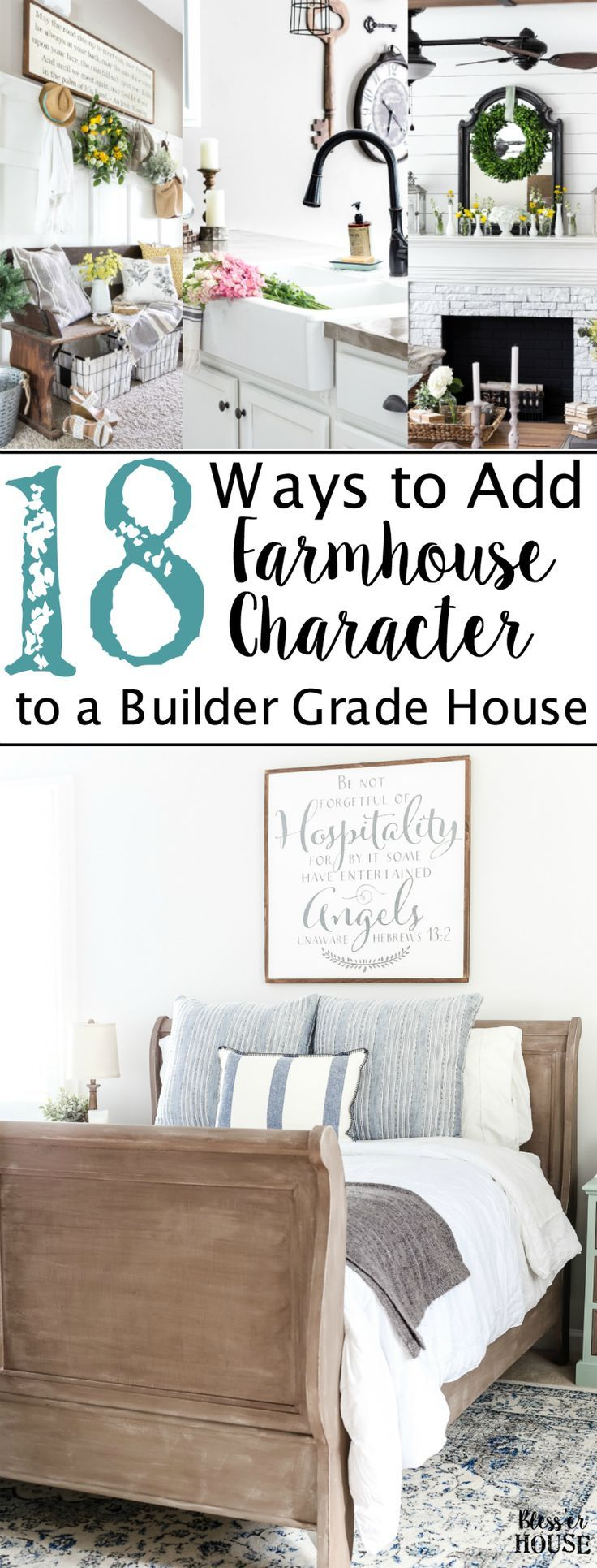 18 Ways to Add Farmhouse Character to a Builder Grade House on a Budget | blesserhouse.com - An in-depth list of do-it-yourself home improvement projects and budget decorating tips to add farmhouse character to a builder grade house (or any home).