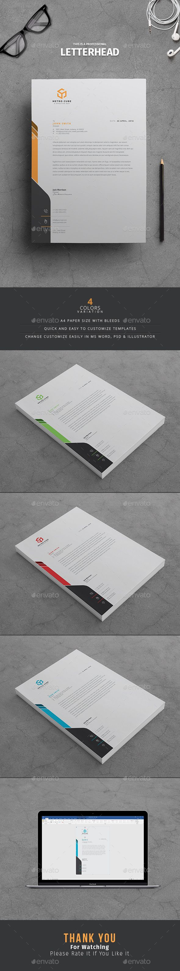 Letterhead Template PSD, Vector EPS, AI Illustrator, MS Word
