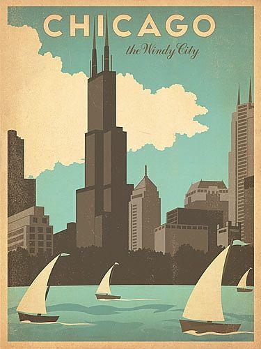 Vintage Chicago Skyline Print