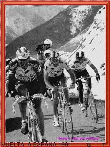 Gran foto. Tres leyendas del ciclismo español.  Vuelta a España 1991, Indurain, lejarreta y herrera #LaVuelta