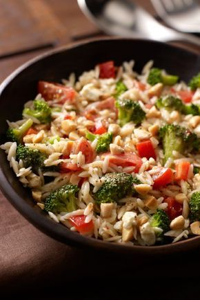 Orzo and Broccoli Salad – Italian dressing, feta, and almonds give this orzo salad recipe great flavor, but the festive color comes from broccoli and cherry tomatoes. Talk about the perfect combination.