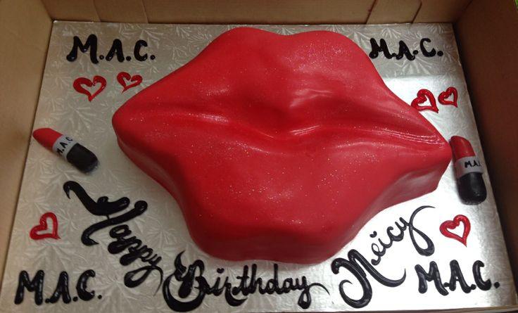 Calumet Bakery Fondant Lip cake with MAC lipsticks