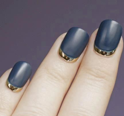 Gold and dark gray nails: Matte Nails, Nails Art, Gold Nails, Nailart, French Manicures, Nails Design, French Tips, Nails Polish, Blue Nails
