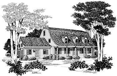Bell-shaped Gambrel Roof (HWBDO03668) | Dutch House Plan from BuilderHousePlans.com