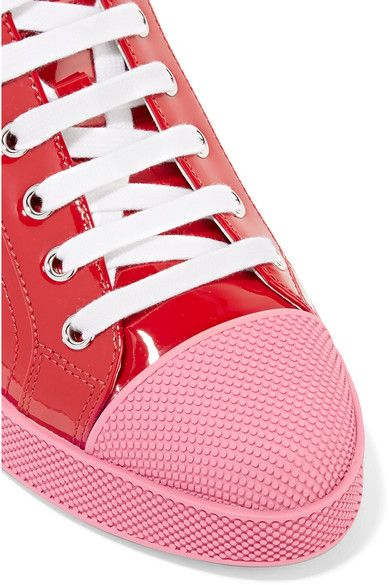 Prada - Patent-leather Sneakers - Red - IT40.5
