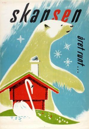 Skansen Stockholm Polar Bear, 1952 - original vintage poster by Olare listed on AntikBar.co.uk