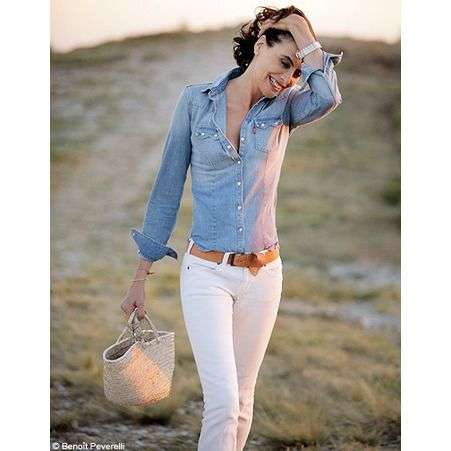 Jean blanc et chemise en jean